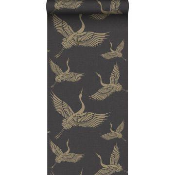 behang kraanvogels zwart en goud