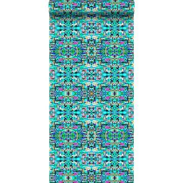 vlies wallpaper XXL jungle fever motief turquoise