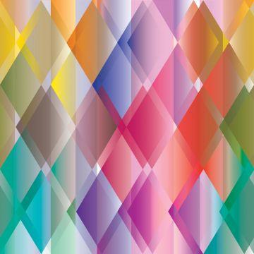 fotobehang kleurrijke driehoeken geel, roze, rood, paars en groen