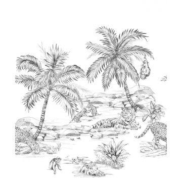 fotobehang safari pentekening zwart wit