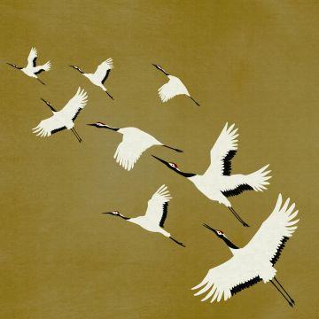 fotobehang kraanvogels okergeel