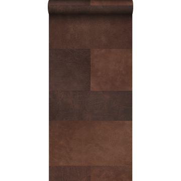 vlies wallpaper XXL tegelmotief met leer look bruin