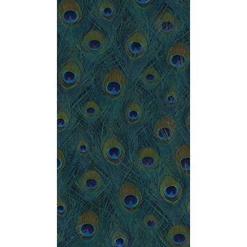 fotobehang pauwenveren zeegroen